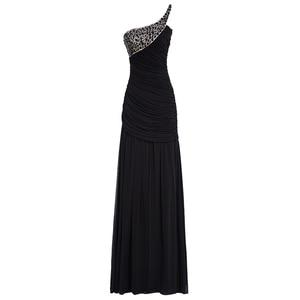 Image 2 - Tanpell uzun gece elbisesi şampanya kolsuz pleats dantelli boncuk kat uzunluk elbiseler kadın balo bir omuz gece elbisesi