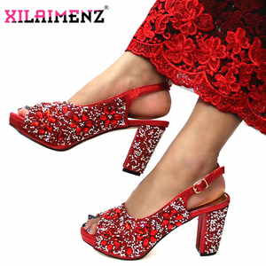 Image 3 - ฤดูหนาวใหม่อิตาเลี่ยนออกแบบไนจีเรียผู้หญิงรองเท้าและกระเป๋า Match คุณภาพสูง Shinning สีแดงคริสตัลสำหรับงานแต่งงาน