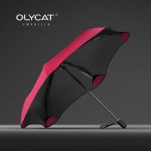 OLYCAT nuevo paraguas plegable lluvia mujeres protección solar creativa niños paraguas a prueba de viento 6K Parasol de aluminio transparente paraguas UPF50 +