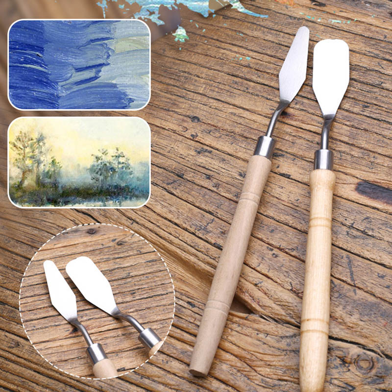 2Pcs/set Stainless Steel Knife Palette Paint Tools Professional Mixed Scraper Spatula Art Supplies For Artist Canvas Oil Paint