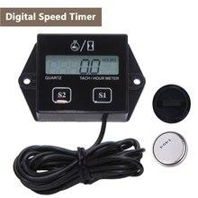 Digital Engine Tach Hour Meter Tachometer Gauge Inductive For Motorcycle Boat Car Stroke Engine 0-9999.9H Timing Range