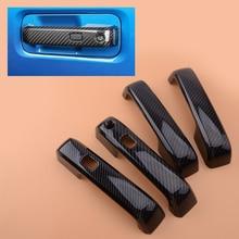 Beler 4 stücke Carbon Fiber Textur Außentür Griff Abdeckung Trim w/ Thermo Sensor fit für Ford F 150 F150 2015 2018 2019 2020