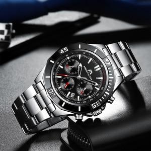 Image 3 - MEGALITH Männer Voller Stahl Uhr Sport Wasserdichte Uhr Männer Leucht Chronograph Uhren Marke Luxus Uhr Relogio Masculino 8206