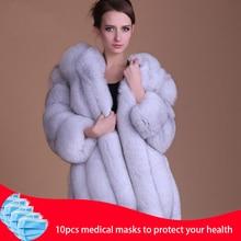 2020 Warm Fashion fur coat 100% Natural fur Jacket female Elegant Long Sleeve Fluffy Fake Fur Jackets Plus Size Overcoat S 3XL