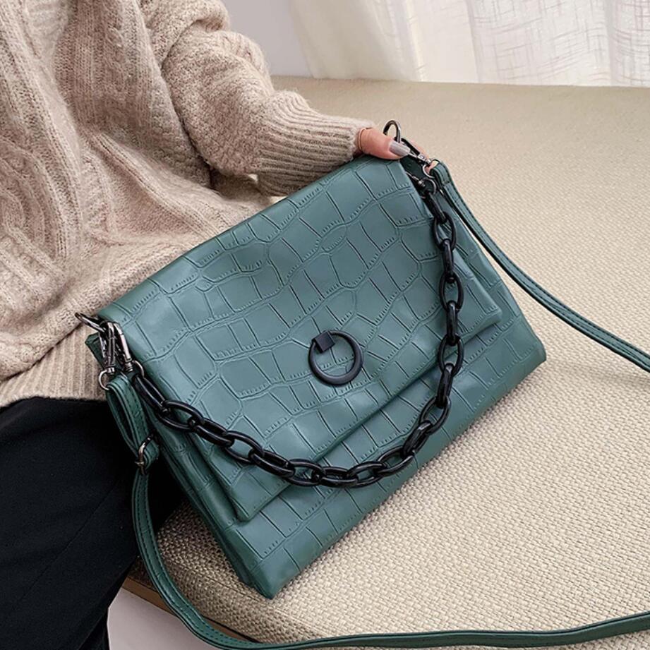 Vintage Fashion Chain Tote Bag 2019 New Quality PU Leather Women's Designer Handbag Crocodile Pattern Shoulder Messenger Bag