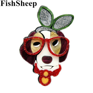 FishSheep Designer Acrylic Dog Brooches and Pins For Women Cute Dog With Glasses Animal Brooch Jewelry Lapel Pins Collection