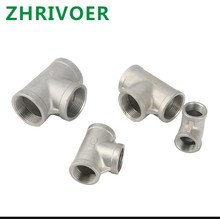 1Pcs SS Tee 304 Stainless Steel Pipe Elbow Type 3 Way  Female Thread Fitting Coyote Gear 76mm 3 pipe od butt welding u shaped return bend 3 way sus 304 stainless sanitary fitting spliter homebrew beer