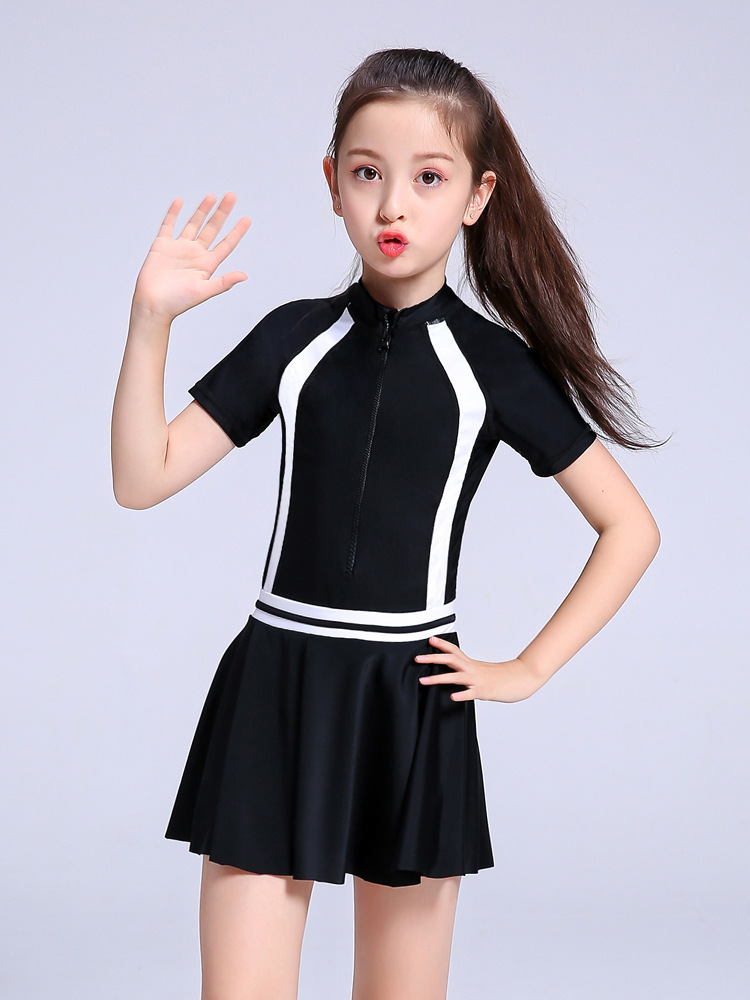 CHILDREN'S Swimwear Girls Child Middle And Large Dress-GIRL'S 6-8-12-15-Year-Old Students Industry Training Swimwear