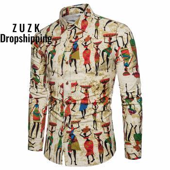 New Men's Fashion Character Print Casual Cotton Long-sleeved Shirt Slim Linen Shirt  Chemise Homme Social Men