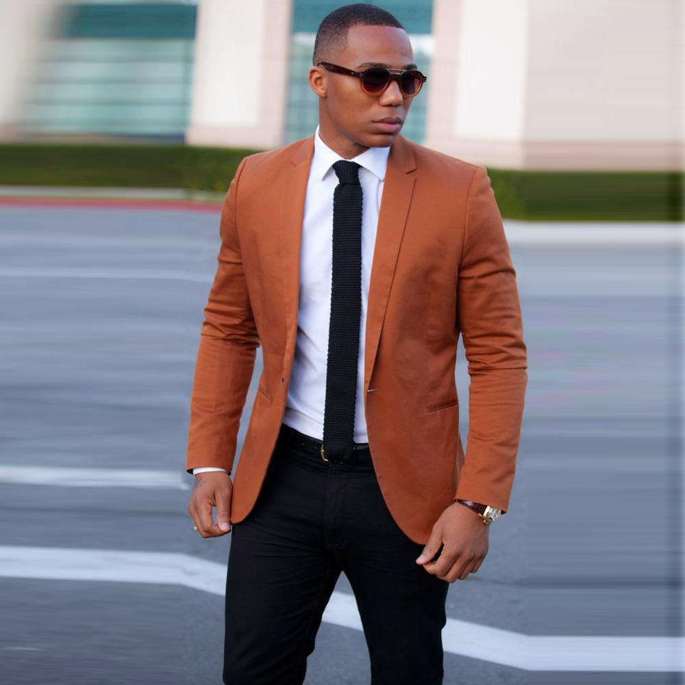 Latest Coat Pant Designs Orange Brown Linen Men Suit Slim Fit 2 Piece Tuxedo Casual Custom Suits Masculino Jacket with Pant 2019