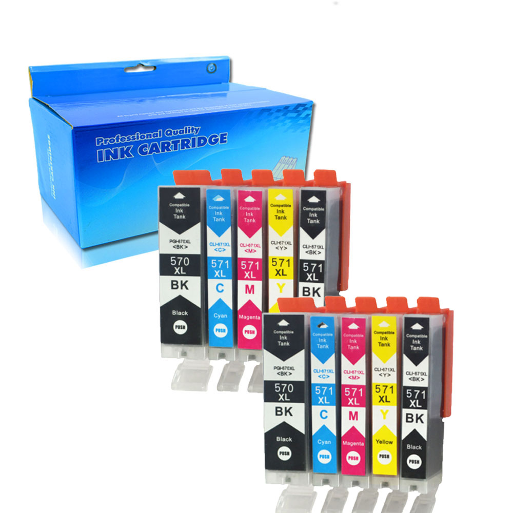 Compatible for Canon PGI 570 CLI 571 PGI570 XL Ink Cartridge For Pixma MG5750 MG5751 MG5752 MG6850 MG7753 <font><b>TS5050</b></font> TS5051(10x) image