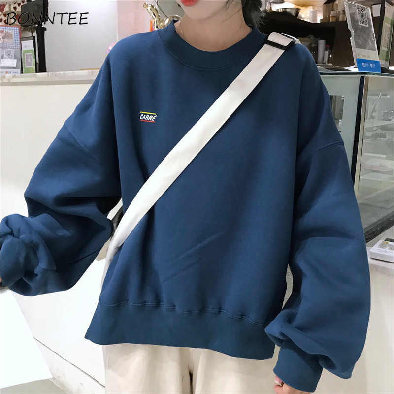Hoodies Women Harajuku Loose Trendy Letter Embroidery Lantern Sleeve Sweatshirts Students All-match Plus Velvet Womens Pullover