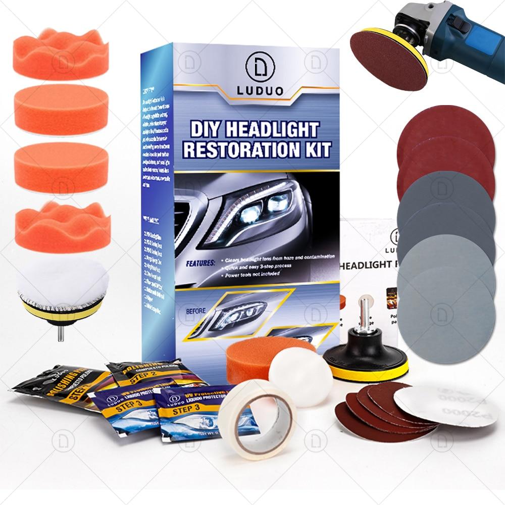 LUDUO DIY Headlight Restoration Polishing Kits Headlamp Clean Paste Systems Car Care Wash Head Lamps Brightener Refurbish Repair