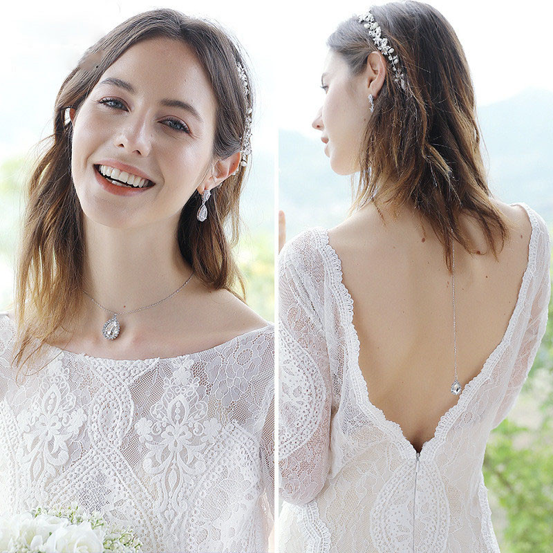 Pearls Rhinestone Bridal Back Chain Necklace Earring Set  Jewelry Bride's Ladies Wedding Party Banquet Bride's Accessories