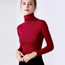Turtleneck Blouse 2019 Women Basic Knitted Fashion Tops Long Sleeve Casual Blusa Femme Slim Ladies Plus Size Red Blue
