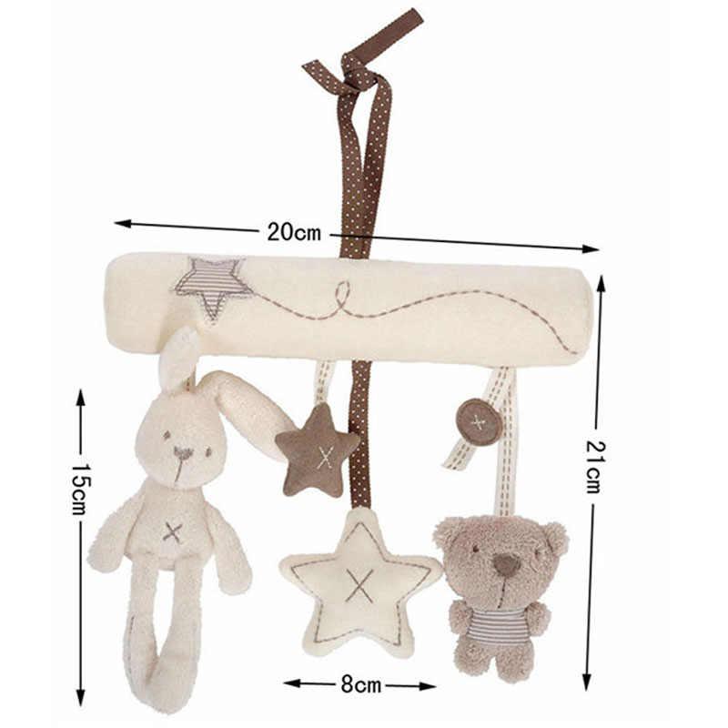 Anak Menenangkan Kelinci Bayi Mainan Musik Gantung Tempat Tidur Kursi Keselamatan Mewah Mainan Tangan Bell Multifungsi Stroller Mainan