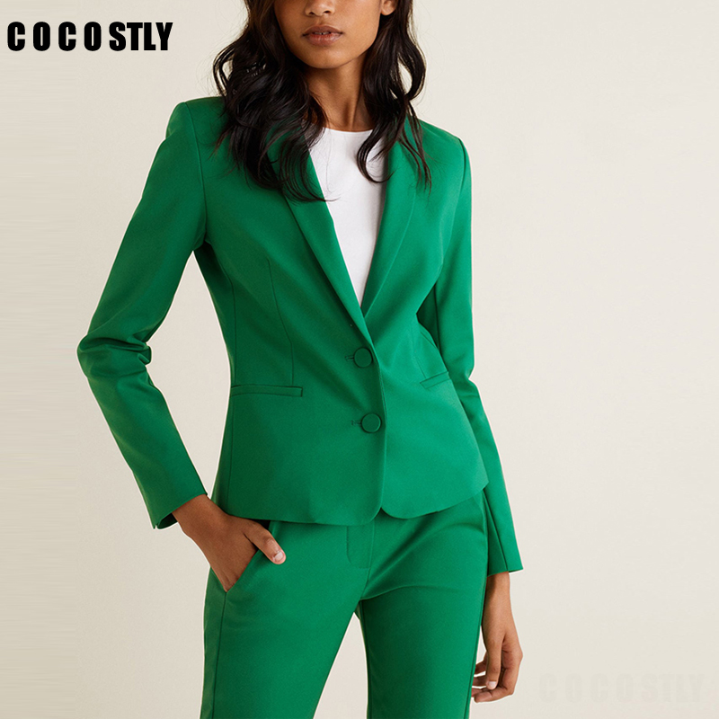 2019 Work Pant Suits Green 2 Piece Set For Women Single Breasted Slim Short Blazer Jacket & Trouser Office Ladies Suit Feminino