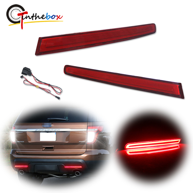 GTinthebox 2x السوبر مشرق النمط الأوروبي LH RH الأحمر LED الوفير عاكسات الخلفية الفرامل الذيل مصابيح الضباب ل 2011 2015 فورد اكسبلورر