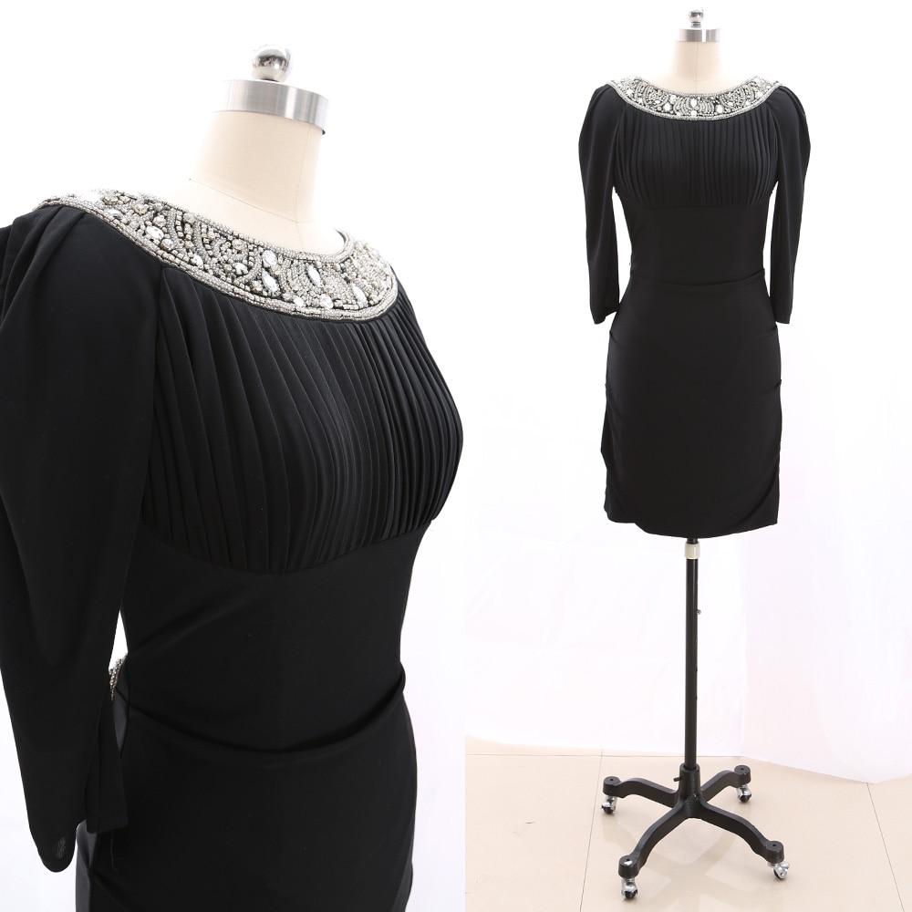 MACloth Black Pencil O Neck Knee-Length Short Crystal Jersey   Prom     Dresses     Dress   M 265844 Clearance