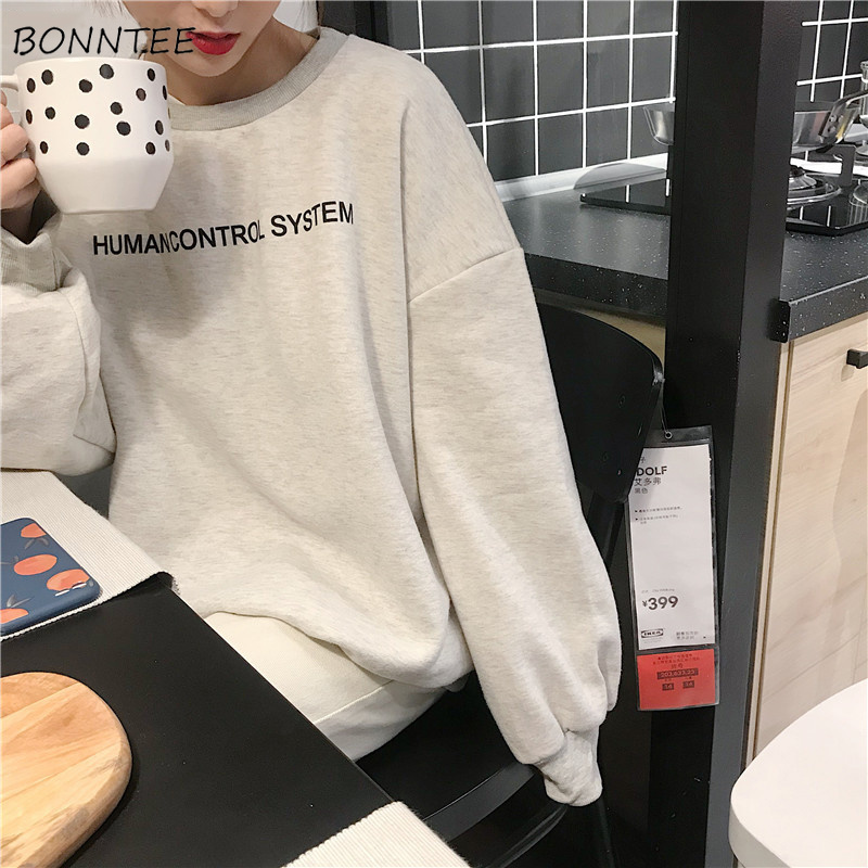 Hoodies Women O-Neck Letter Printed Winter Thicker Plus Velvet Warm Simple All-match Sweatshirts Womens Soft Korean Style Chic