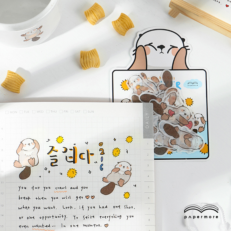 Kawaii Cartoon Animal cat Otter duck  Decorative Stationery Stickers Scrapbooking DIY Diary Album Stick Lable