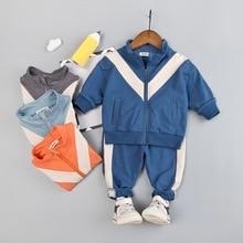 Infant Children Clothing Girls Boys Fashion Tracksuit Baby Patchwork Sport Suit Zipper Jacket + Sweatpants Boy Girl Clothes Set недорого
