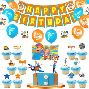 44pcs Blippi Birthday Party Supplies with Blippi Balloons Birthdays Banner Cake Toppers Birthday Decorations Party Pack For Kids