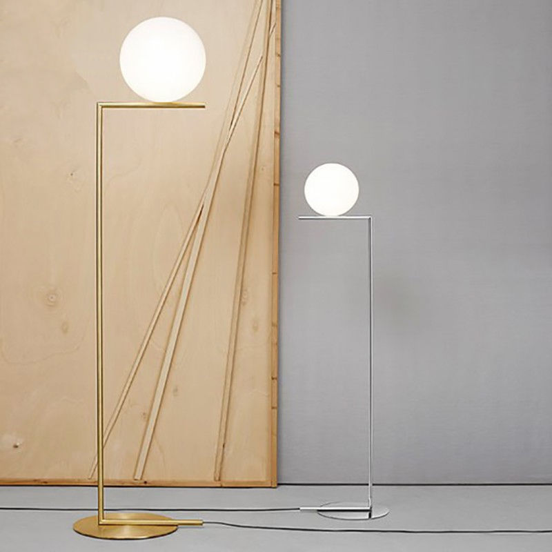 Modern Led Ball Floor Lamp Luxury Glod Floor Light White Glass Standing Lamp Living Room Bedside Deco Standing Lights Lighting