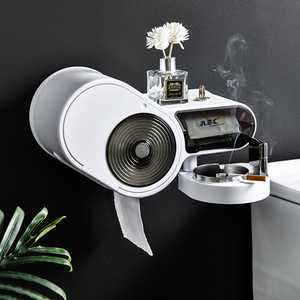 Image 2 - 다기능 무료 펀칭 티슈 상자 화장지 홀더 플라스틱 스토리지 박스 화장실 방수 욕실 액세서리