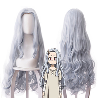 Anime My Hero Academia Boku No Hero Cosplay Costume Wigs Eri Long Curly Gray Blue 90cm hair Halloween Costume For Women CS066