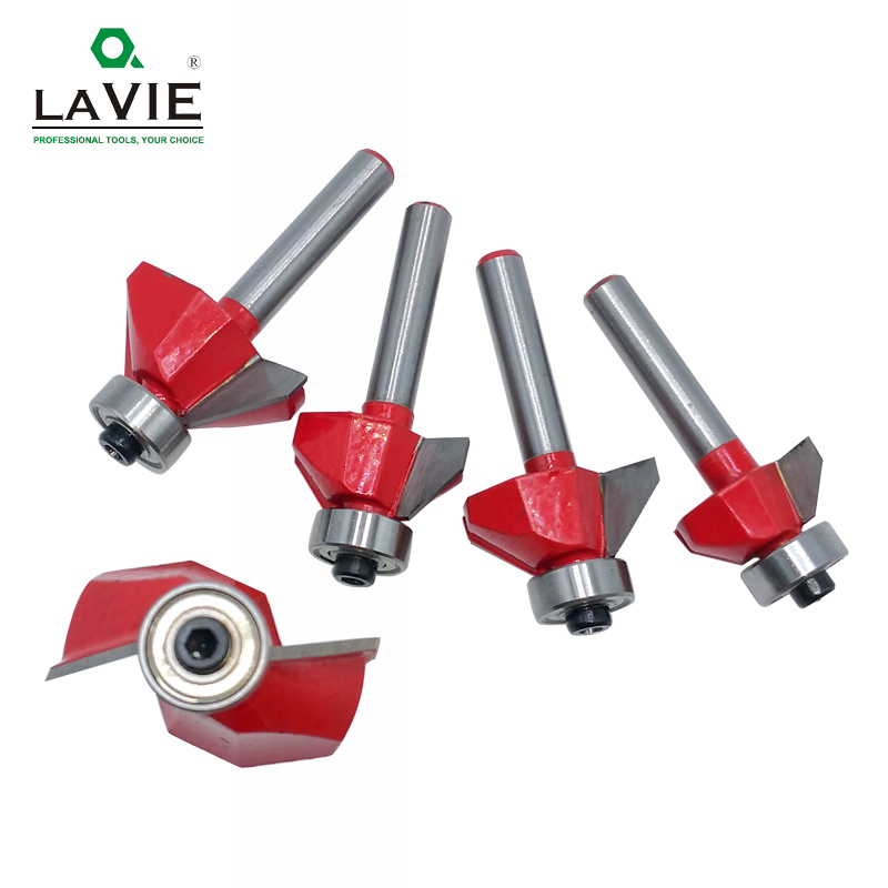 Image 2 - LAVIE 1pc 6mm 6.35mm Shank 45 Degree Chamfer Router Bit Edge Forming Bevel Woodworking Milling Cutter for Wood Bits MC01130-in Milling Cutter from Tools