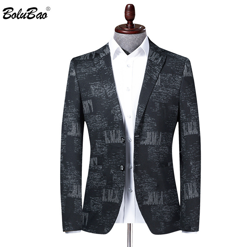 BOLUBAO Brand Men Blazer Coats Retro Print Spring Men's V-Neck Suit Fashion High Quality Slim Fit Korean Blazers Coat Male