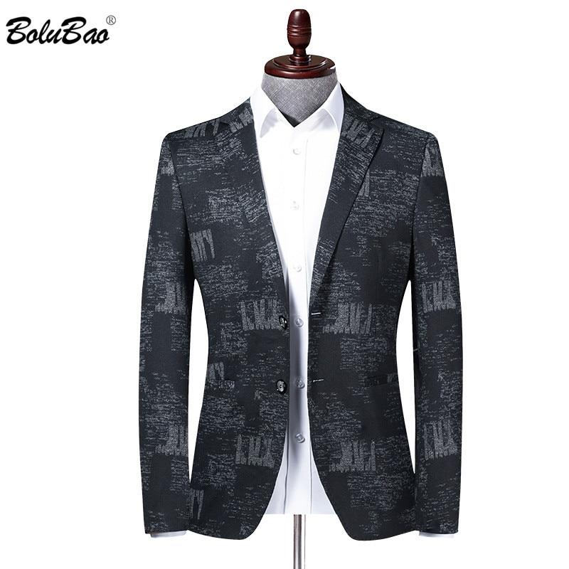BOLUBAO Brand Men Blazer Coats Retro Print Spring Men's V-Neck Suit Fashion High Quality Slim Fit Korean Blazers Coat Male