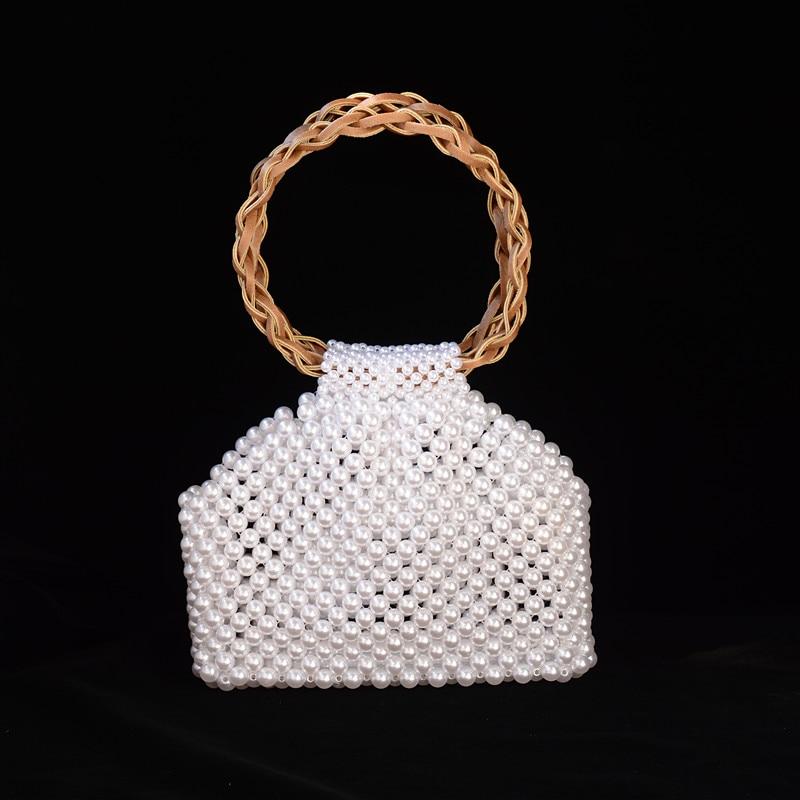 Handmade Pearl Bags Women Handbags Ladies Evening Party Shoulder Bag Elegant White Beaded Crossbody Bags MIni Phone Purse