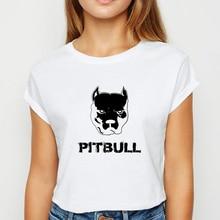 Tshirt Short-Sleeve O-Collar Pitbull Spring Summer Female Ulzzang Dog Printing-Design