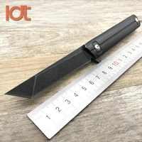 LDT Qwaiken Cojinete de bolas táctico cuchillo plegable 9Cr18Mov hoja de acero mango cuchillos de bolsillo caza al aire libre cuchillo de rescate herramientas EDC