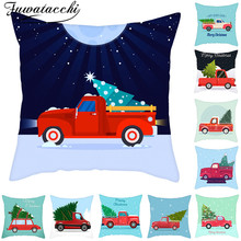 Fuwatacchi Red Truck Pillowcases Christmas Tree Cushion Cover Decorations For Home New Year Sofa Upholstery 45*45cm