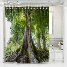 Big Tree 3D Print Waterproof Shower Curtains Bathroom Creative Polyester Bath Curtain douchegordijn landschap Multiple Sizes