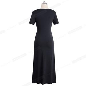 Image 2 - 素敵な永遠の因果無地セクシーなスプリット vestidos 半袖パーティー女性のドレス A155