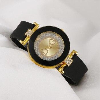 Simple black white quartz watches women minimalist design silicone strap wristwatch big dial women's fashion creative watch