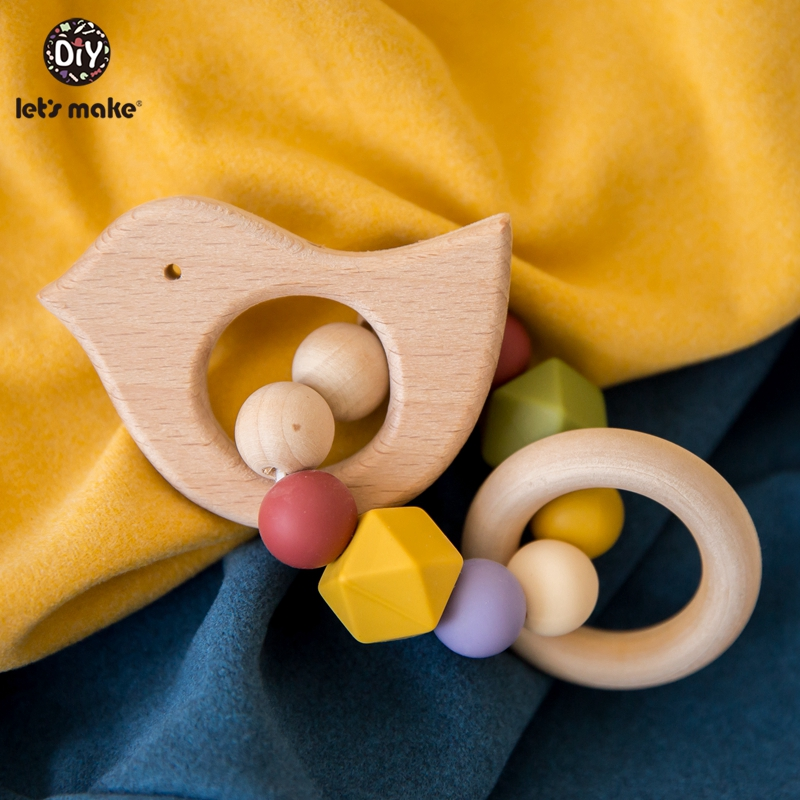 Let's Make 1pc Wooden Engraved Name Ring Baby Wood Teether Beech Accessories Infant Newborn Teething Baby Rattle Toys For Kids