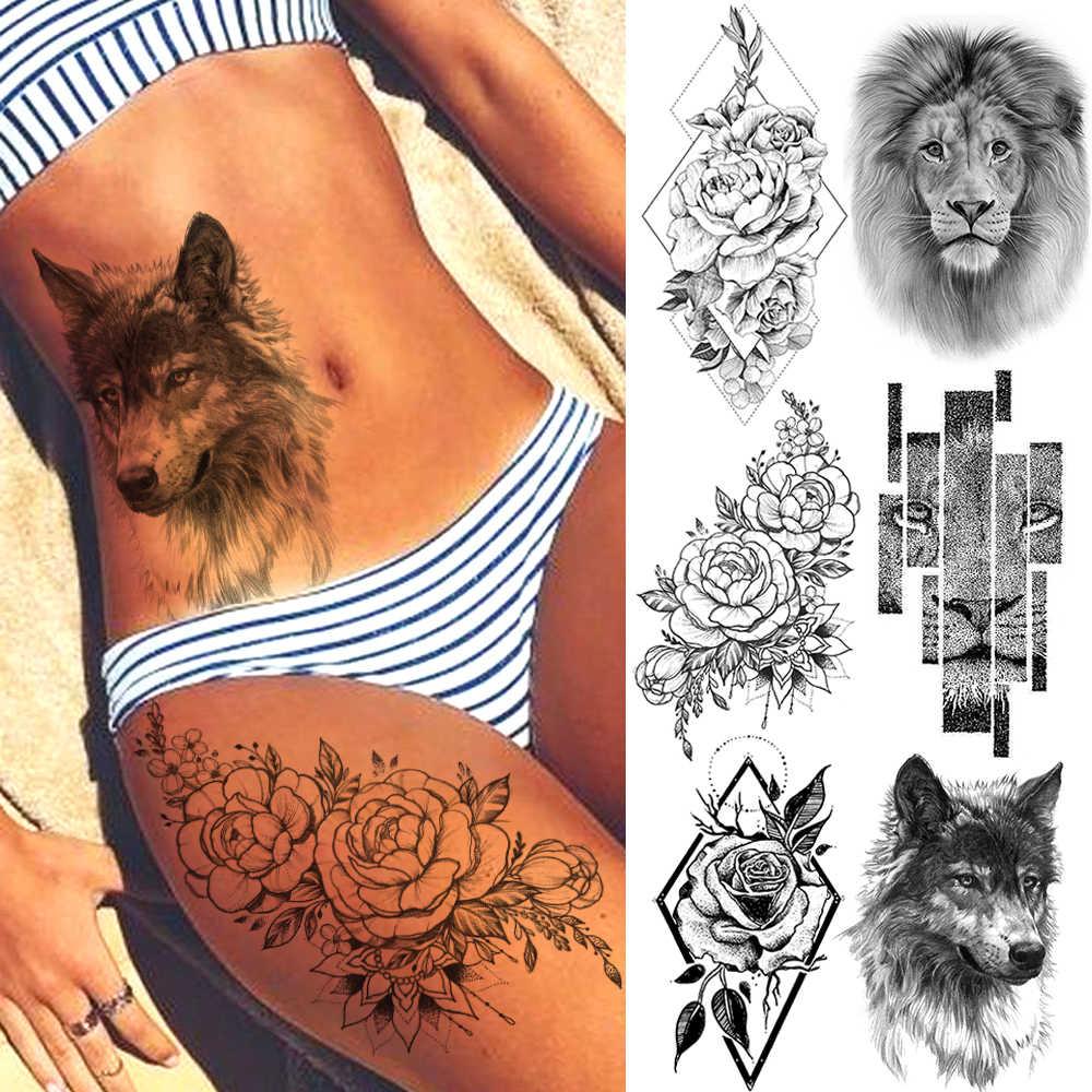 Stile di estate Autoadesivi Provvisori Del Tatuaggio Rosa Del Fiore Della Piuma Per Le Donne Falso Tatuaggi Uomini Del Corpo Braccio Art Tatuaggi Tribale del Lupo Leone hennè