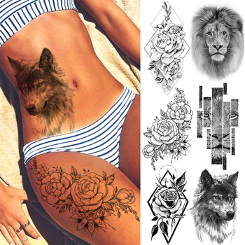 Summer Style Temporary Tattoo Stickers Rose Flower Feather For Women Fake Tattoos Men Body Arm Art Tatoos Tribal Wolf Lion Henna