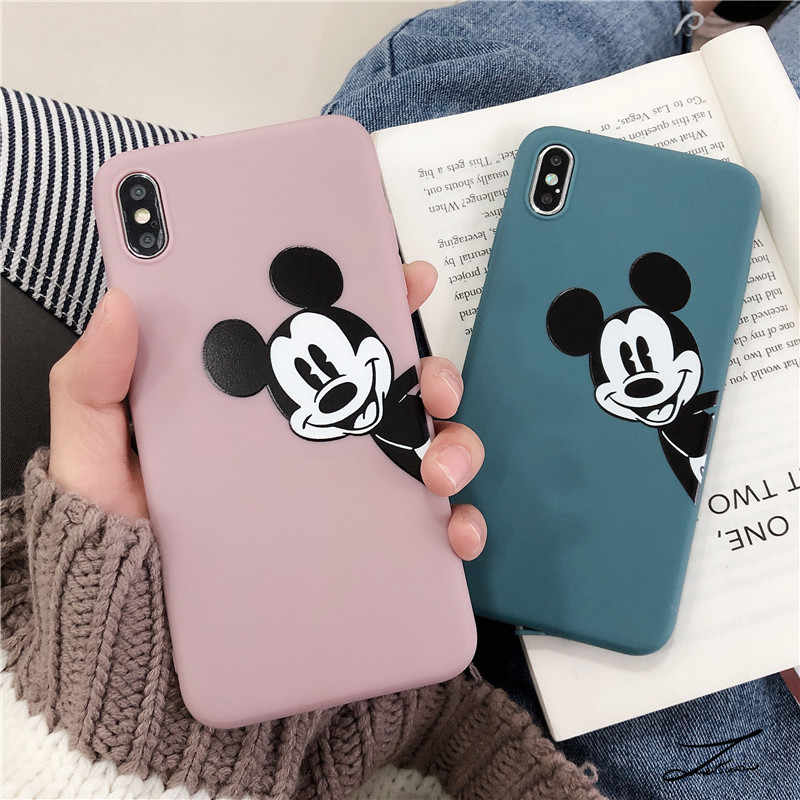 Soft Silicone Phone Case Cover For Apple Iphone 8 7 Plus 6 S 6 6S XS Max XR X Simple Mickey Heart For Iphone 5 5S SE Back Cover