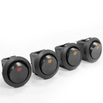 цена на 100Pcs 3 pins ON-OFF SPST Rocker Switch 12V led rocker switch Led Dot Light LED illuminated Car Dashboard Dash Boat Toggle