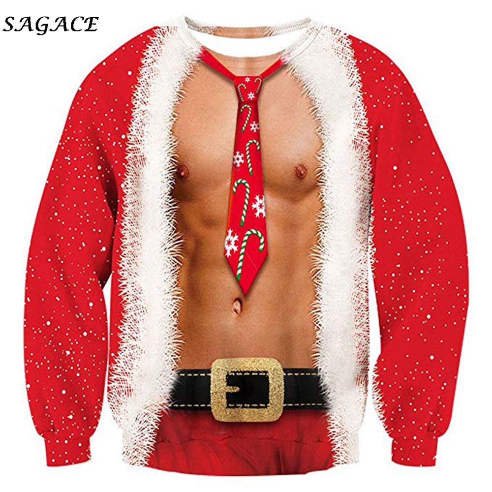 Sagace Clothes Printed Men Christmas Sweatshirt Pullover Long Sleeve Spring Autumn Winter 3D Printing Long Sleeve Top Sweatshirt