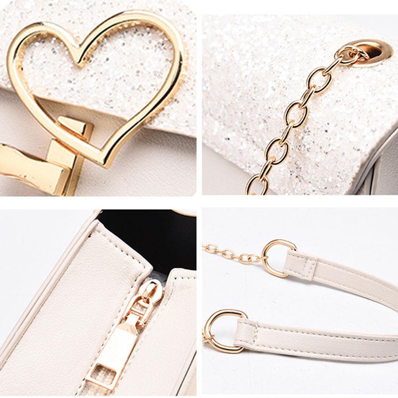 Sacs à main de mode en cuir à bandoulière avec chaîne serrure coeur