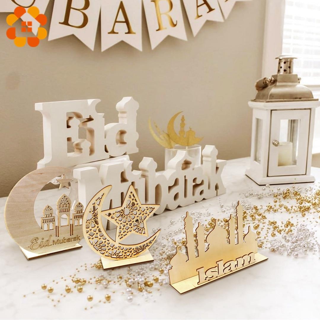 1set Wooden Plaque Ornaments Kareem Gift Eid Mubarak Decoration Accessories Ramadan Decoration Islamic Pendant Party Supplies
