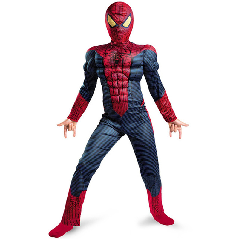 Boys Muscle SuperHero Costume Deluxe Spider Boy Cosplay Jumpsuit Halloween Costumes For Boys Child Purim Carnival Costumes