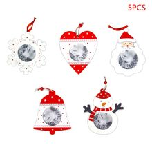 5pcs/set Innovative Christmas Decorations Hanging Wooden Picture Photo Frame DIY Pendant Xmas Ornaments